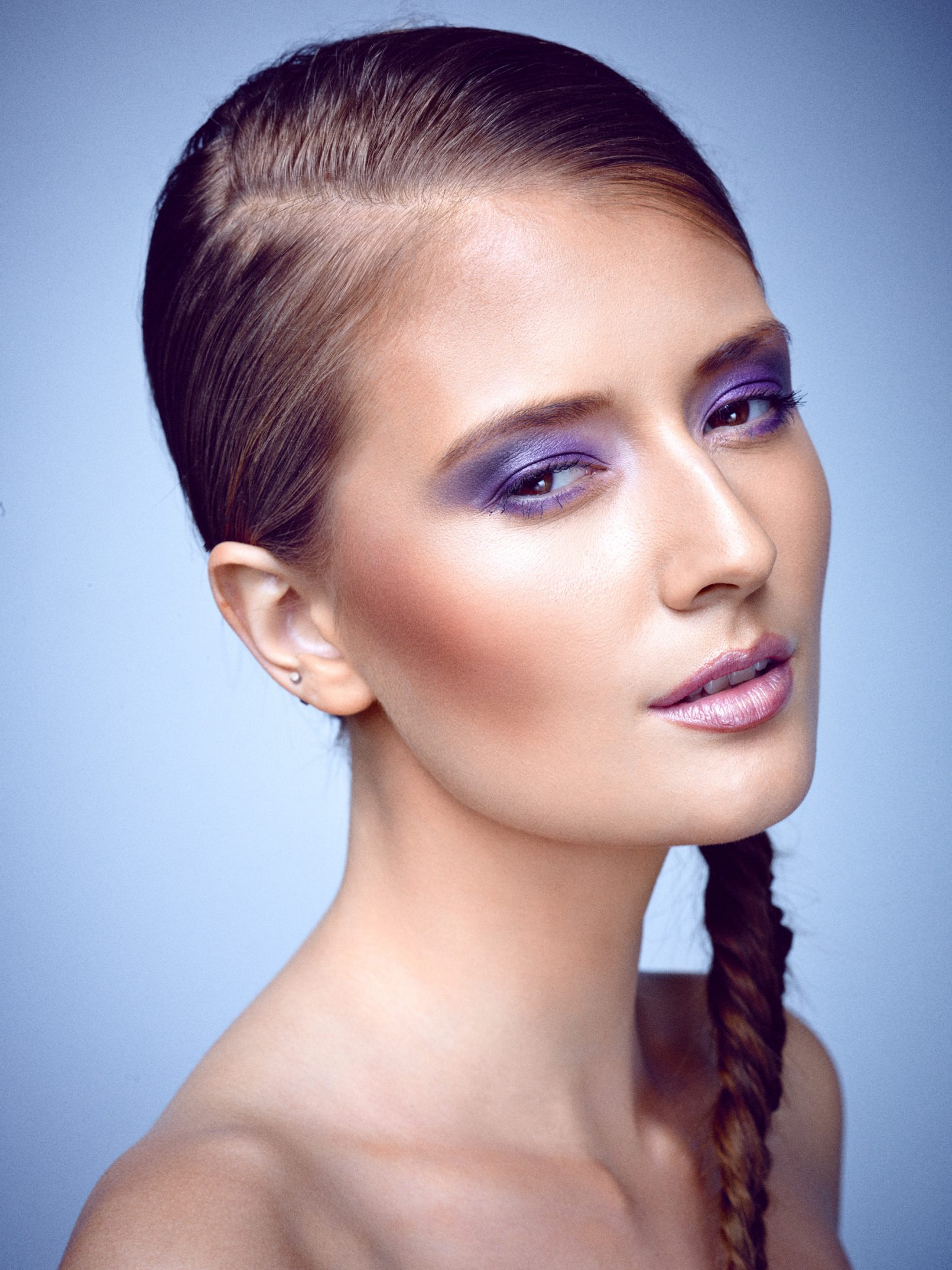Emily Vienberg Poulsen fotograf christian grüner make-up fletning braid purple lille violet